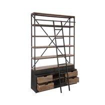 Bibliothèque 4 étagères avec échelle en bois et métal
