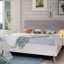 Lit 140x200 cm avec 2 chevets décor blanc et gris - MADI