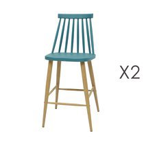 Lot de 2 chaises de bar scandinave bleu