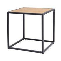 Table basse carrée en pin et métal noir