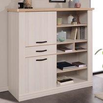 Bahut  138x129x49cm en décor bois blanchi