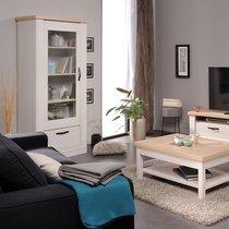Vitrine 1 porte et 1 tiroir en décor bois blanchi - RUSSY