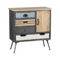 Cabinet 4 tiroirs 1 porte en acier et bois massif - TUDAL