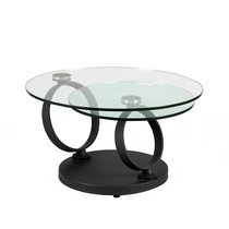 Table basse ronde anthracite, verre trempé