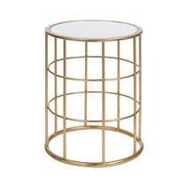 Table gigogne ronde en verre et métal or
