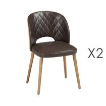 Lot de 2 chaises en PU marron et jute