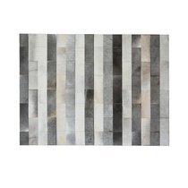 Tapis 180x240 cm en cuir tons gris