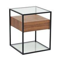 Table d'appoint en verre trempé bois et métal - ASPEN