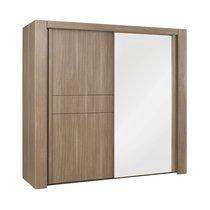 Armoire 2 portes coulissantes + miroir L250cm décor chêne - AGATHE