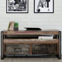 Meuble TV 2 tiroirs en métal et teck recyclé - TUNDRA