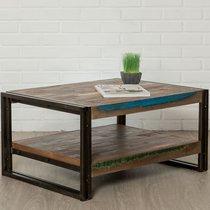 Table basse 80 cm double plateaux en teck recyclé - TUNDRA