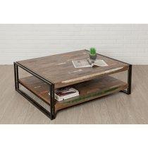 Table basse 120x40x100 cm double plateaux en teck recyclé - TUNDRA