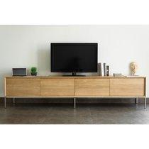 Meuble TV 2 tiroirs et 2 portes en chêne massif - RETHEL