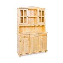 Buffet vaisselier 5 portes et 3 tiroirs en pin massif - CHAMONIX