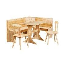 Ensemble table + banc + 2 chaises en pin massif - CHAMONIX