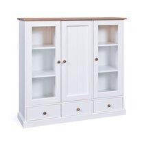 Vitrine 3 portes et 3 tiroirs en pin blanc et naturel - MAINE