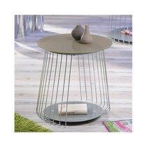 Table basse ronde 50 cm en verre et métal gris - MEGANE