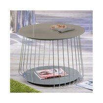 Table basse ronde 70 cm en verre et métal gris - MEGANE