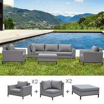 Salon de jardin 5 à 6 places en aluminium gris clair