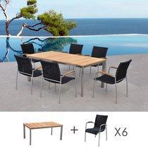 Table de jardin en teck + lot de 6 chaises en résine tréssée noire