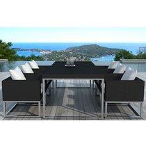 Table de jardin + 6 fauteuils en résine tréssée et coussins blancs