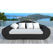 Canapé de jardin en résine tressée noire et coussins blancs