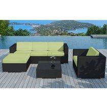 Salon de jardin 5 places en résine tréssée noire et coussins verts