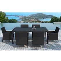 Table de jardin + 6 fauteuils en résine tréssée noire coussins écrus