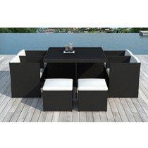 Table de jardin + 4 fauteuils + 4 poufs en résine tréssée noire