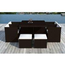 Table de jardin + 4 fauteuils + 4 poufs en résine tréssée chocolat