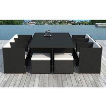 Table de jardin + 6 fauteuils + 4 poufs en résine tréssée noire