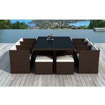 Table de jardin + 6 fauteuils + 4 poufs en résine tréssée chocolat