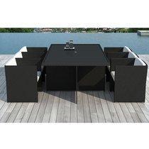 Table de jardin + 6 fauteuils en résine tréssée noire
