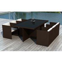Table de jardin + 6 fauteuils en résine tréssée chocolat