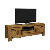 Meuble TV 2 portes et 1 tiroir naturel - VESOUL