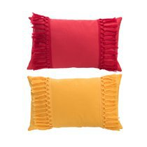 Lot de 2 coussins rectangulaires à pompons 30x50 cm rose et orange