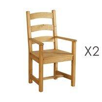 Lot de 2 chaise repas avec accoudoir en pin - TERRO
