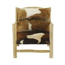 Fauteuil 70x80x80 cm imitation peau de chèvre et bois massif naturel
