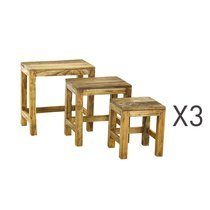 Lot de 3 tables gigognes en bois massif naturel