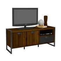 Meuble TV 142 cm 2 portes et 1 tiroir en bois et métal - ORLANDO
