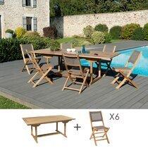 Ensemble table 180 cm + 6 chaises en teck et textilène - GARDENA