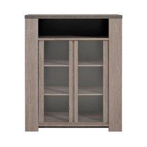 Buffet haut 2 portes vitrées en chêne foncé et plateau béton - RITA