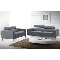 Canapé 2 places fixe en tissu gris - MALAGA