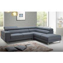 Canapé d'angle à droite en tissu gris - MALAGA
