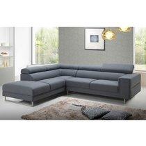 Canapé d'angle à gauche en tissu gris - MALAGA