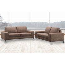 Canapé 2 places fixe en tissu marron - CHABLIS