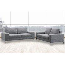 Canapé 2 places fixe en tissu gris chiné - CHABLIS