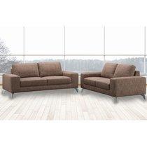 Canapé 3 places fixe en tissu marron - CHABLIS