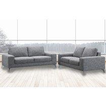 Canapé 3 places fixe en tissu gris chiné - CHABLIS