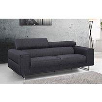 Canapé 3 places fixe en tissu gris foncé